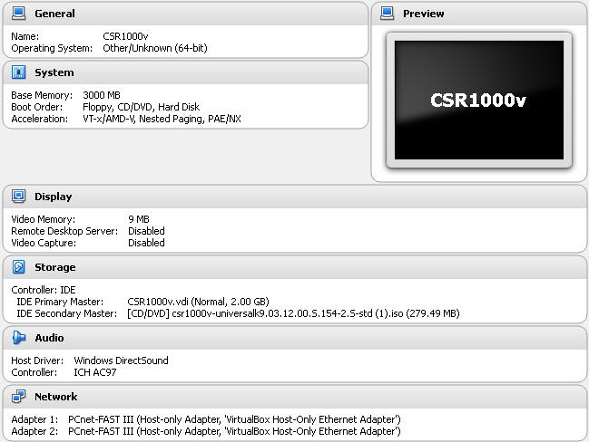 CSR1000v VM Settings